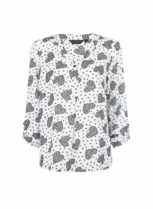 Womens White Heart Print Roll Sleeve Blouse- White, White