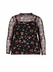 Womens **Dp Curve Black Floral Print Mesh Top, Black