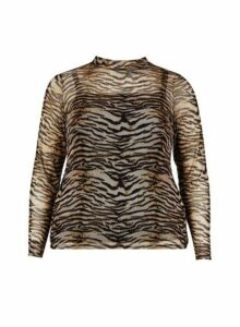 Womens Dp Curve Brown Tiger Print Mesh Top, Brown
