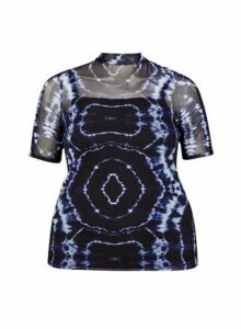 Womens **Dp Curve Multi Colour Tie Dye Print Mesh Top- Black, Black