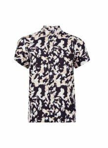 Womens Petite Multi Colour Camouflage Print Utility Shirt- Black, Black