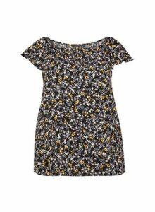 Womens **Billie & Blossom Curve Black Ditsy Print Button Top, Black