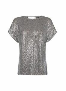 Womens Grey Foil Print Tee, Grey