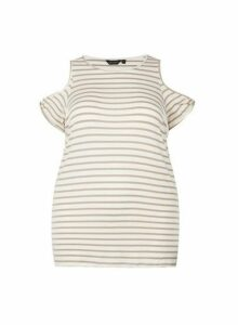 Womens **Dp Curve White Stripe Print Cold Shoulder Top, White