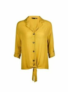 Womens Yellow Crinkle Shirt- Ochre, Ochre