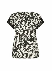 Womens **Tall Black Tie Dye Print Sequin Trim T-Shirt, Black