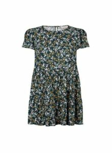 Womens Billie & Blossom Teal Blue Ditsy Print Smock Top, Blue