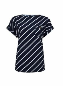 Womens Navy Stripe Print Button Pocket Tee- Blue, Blue