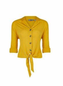 Womens Petite Yellow Crinkle Shirt, Yellow