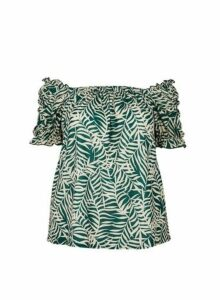 Womens Dp Curve Green Palm Print Bardot Top, Green