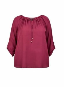 Womens **Billie & Blossom Curve Pink Tie Neck Blouse, Pink