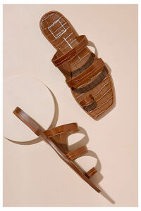 Dolce Vita Croc-Embossed Leather Sandals - Brown, Size 41
