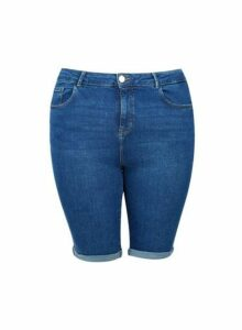 Womens Dp Curve Indigo Denim Knee Shorts - Blue, Blue