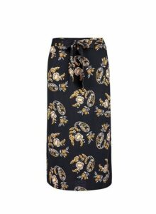 Womens Black Floral Print Tie Back Midi Skirt, Black