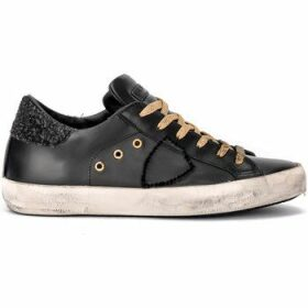 Philippe Model Paris  Paris sneaker in black and gold leather  women's Shoes (Trainers) in Black