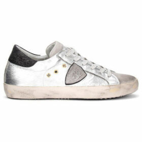 Philippe Model Paris  Paris sneaker in silver-colored laminated leather and gray  women's Shoes (Trainers) in Silver
