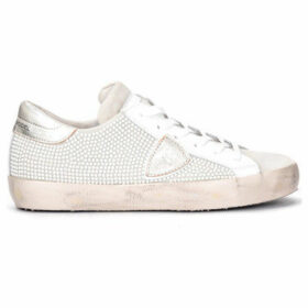 Philippe Model Paris  Paris sneaker in gray suede with white micro studs on one side  women's Shoes (Trainers) in White