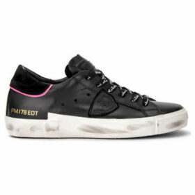 Philippe Model Paris  Sneaker Paris X model in black leather with fluo pink details  women's Shoes (Trainers) in Black
