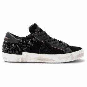 Philippe Model Paris  Paris X sneaker in black suede with heat-sealed Swarovski  women's Shoes (Trainers) in Black