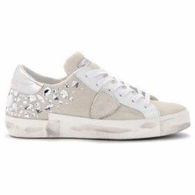Philippe Model Paris  Paris X sneaker in white suede with heat-sealed Swarovski  women's Shoes (Trainers) in White