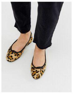 ASOS DESIGN Lenor leather bow ballet flats in leopard