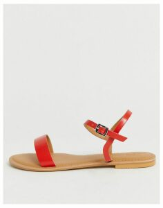 ASOS DESIGN Flume leather flat sandals in red