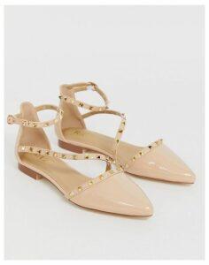 RAID Eden nude patent studded flat shoes-Beige