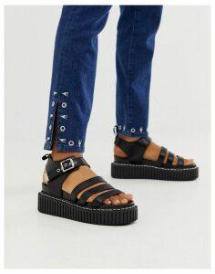 Lamoda black flatform chunky sandals