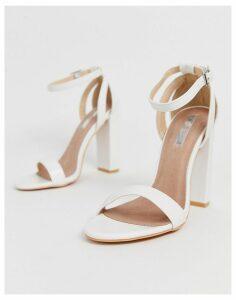Lost Ink Blaise block heel sandal in white-Black
