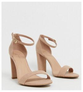 New Look wide fit block heel sandal in tan-Cream
