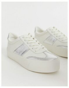ASOS DESIGN Detect flatform trainers in white and silver