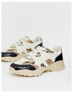 ASOS DESIGN Desired chunky trainers in white black croc and natural snake-Multi