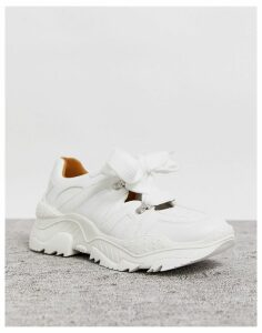 Lost Ink lace up trainer in white