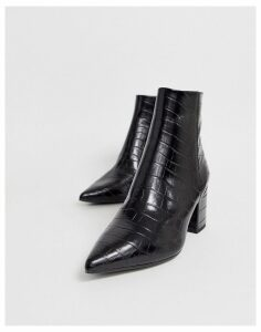 New Look pointed block heeled boots in black croc