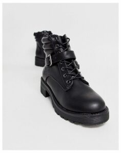 New Look flat hiker boots in black