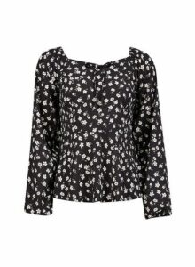 Womens Black Ditsy Print Long Sleeve Top- Black, Black