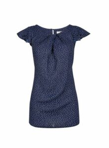 Womens **Billie & Blossom Tall Navy Spot Top- Blue, Blue