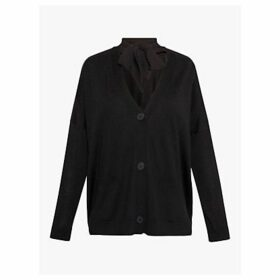 Gerard Darel Tie Neck Wool Cardigan, Black