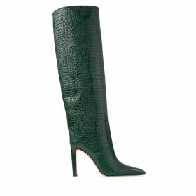 MAVIS 100 Dark Green Croc Embossed Leather Knee High Boots