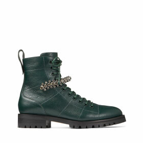 CRUZ FLAT Dark Green Grainy Leather Combat Boots with Crystal Detail
