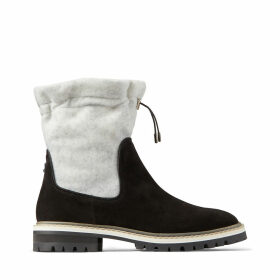 BAO FLAT Black Suede and White Wool Winter Boots with Toggle