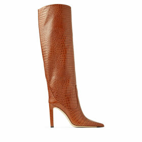 MAVIS 100 Cuoio Croc Embossed Leather Knee High Boots