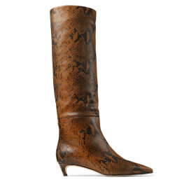 MAXIMA 35 Cuoio Snake Printed Leather Knee High Boots