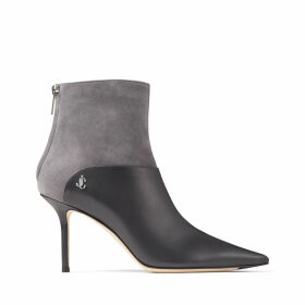 BEYLA 85 Dusk Calf Leather and Suede Ankle Booties with JC Button Detailing