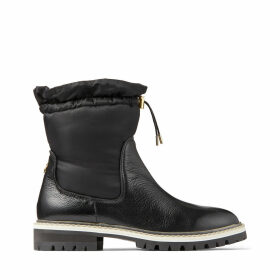 BAO FLAT Black Leather and Padded Nylon Winter Boots with Toggle