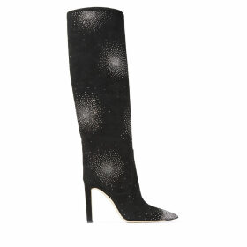 MAVIS 100 Black Suede Knee High Boots with Constellation Crystal Hotfix