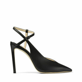 SAKEYA 100 Black Calf Leather Pumps with Ankle Strap