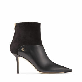 BEYLA 85 Black Calf Leather and Suede Ankle Booties with JC Button Detailing