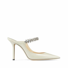 BING 100 Linen Patent Leather Mules with Crystal Strap