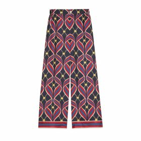 Pajama trousers with Interlocking G ribbon print